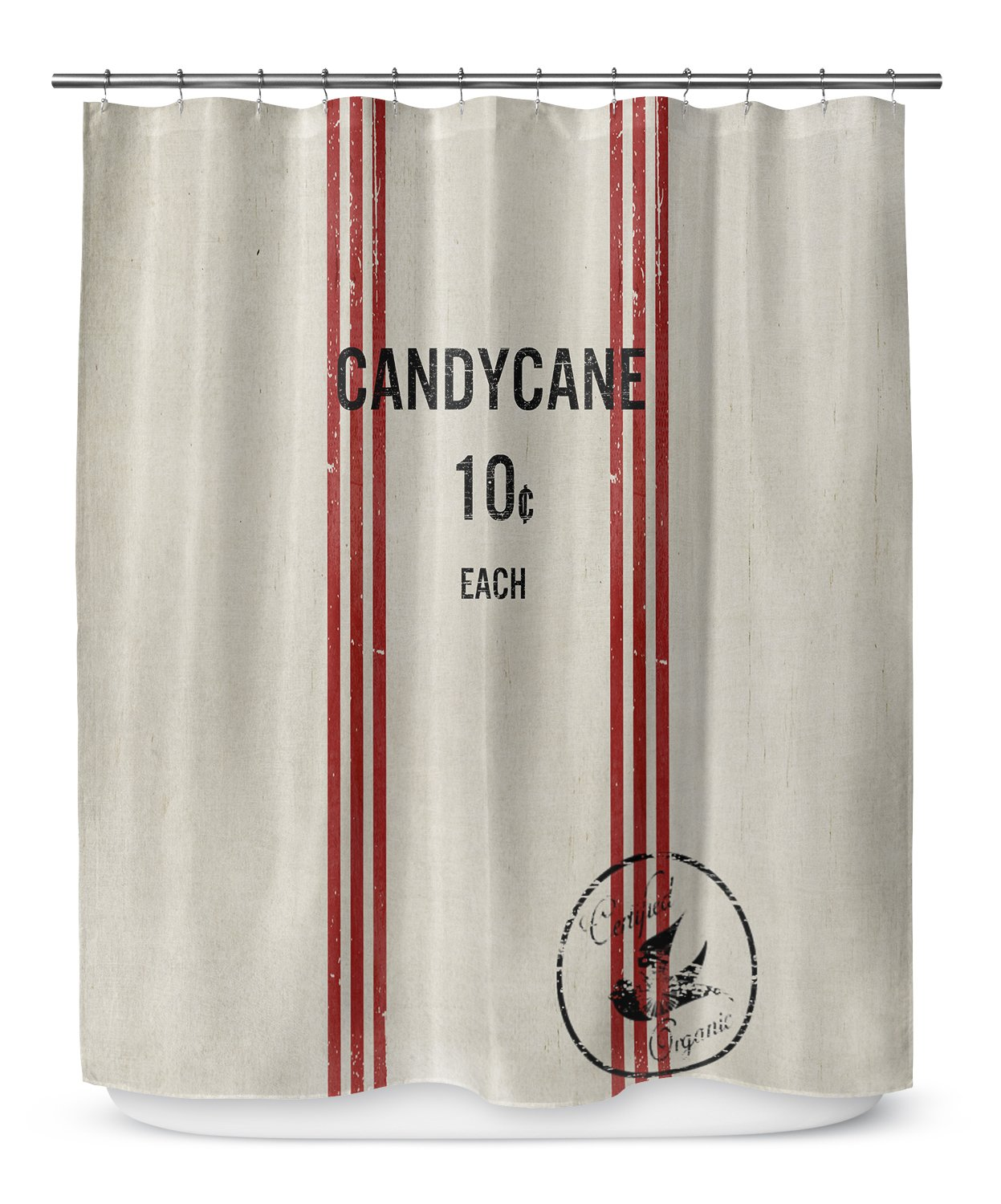 Amazon KAVKA Designs Candy Cane Shower Curtain Ivory Red Black