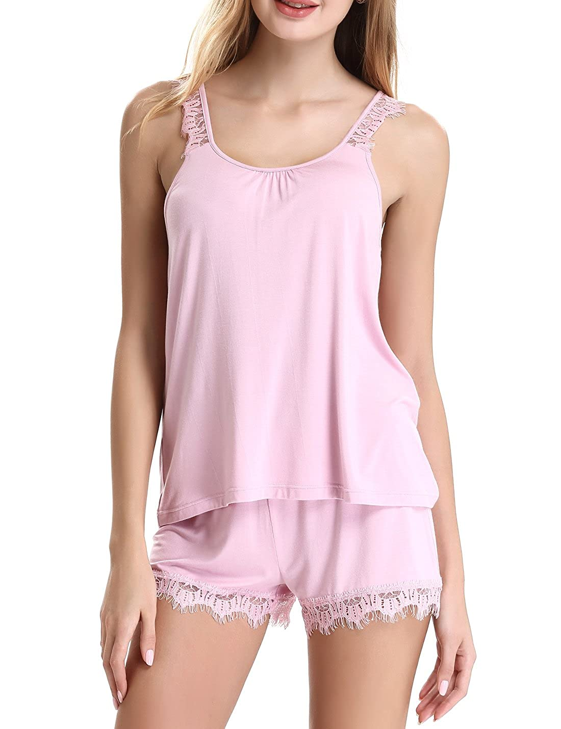 NORA TWIPS Womens Lace Sleepwear Sleeveless Pajama Set with Short Pants by (XS-XL) *OY011