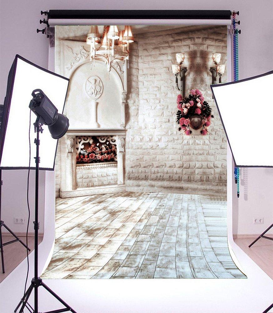 Ofila 5x7ft vinyl photography background modern interior design droplights flower baskets vintage white brick wall floor wedding backdrop home decor