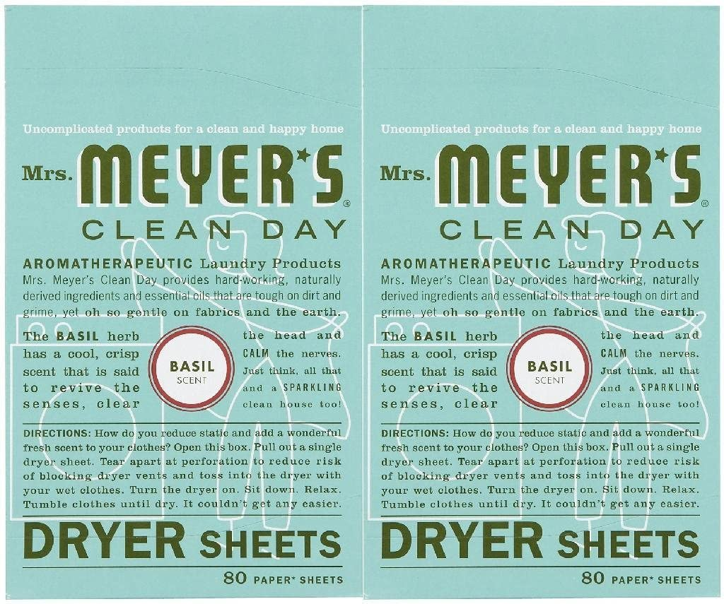 Mrs. Meyer's Clean Day Dryer Sheets - Basil - 80 ct - 2 pk