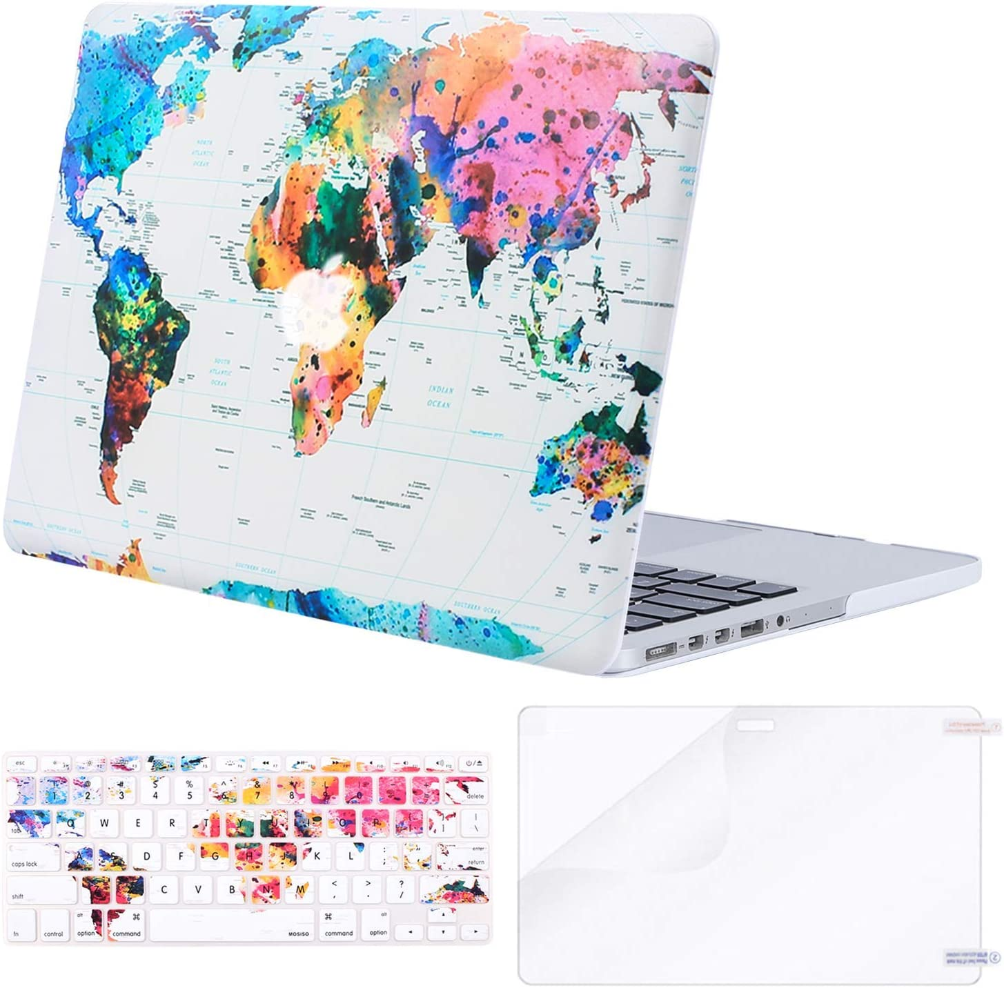 MOSISO MacBook Pro 15 inch Case (A1398, 2015 - end 2012 Release), Plastic Hard Shell & Keyboard Cover & Screen Protector Compatible with Older Version MacBook Pro Retina 15 inch, World Map White Base
