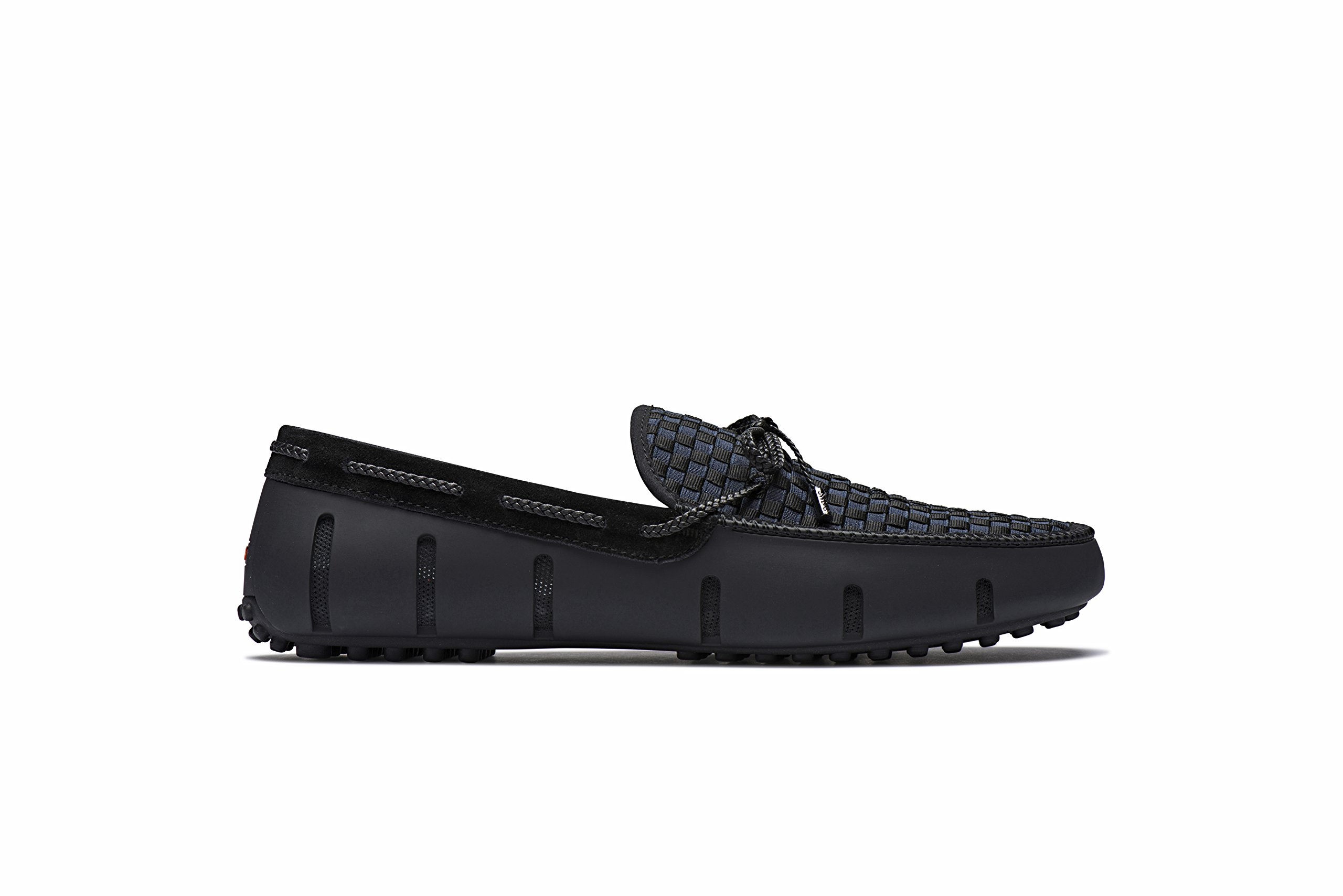 SWIMS Men's Lux Lace Woven Loafer Shoes - Black/Navy, 8