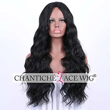 Chantiche Affordable Long Wavy Black Wig for African American Women Natural  Looking Synthetic Wigs uk Middle b2acd28c0