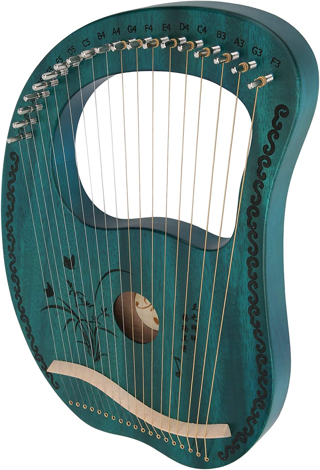 Mahogany Harp 16‑String 16‑Tone Tunable Lyre with Tuning Wrench Portable Musical Instrument Cristmas Birthday Present Gifts