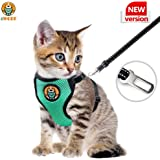 AWOOF Kitten Harness and Leash Escape Proof, Adjustable Cat Puppy Walking Jacket with Metal Leash Ring, Soft Breathable Small Pet Vest (S)