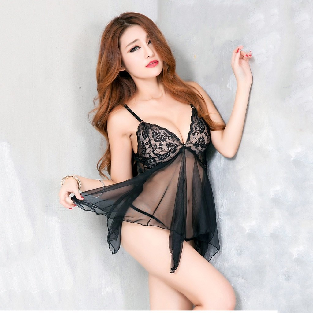 a1bcc5e40f9 Amazon.com   SMSM Sexy Lingerie Suit Large Code Dew Open Breast Stitching  Small Breasts Sexy Lace Women Transparent Pajamas Skirt
