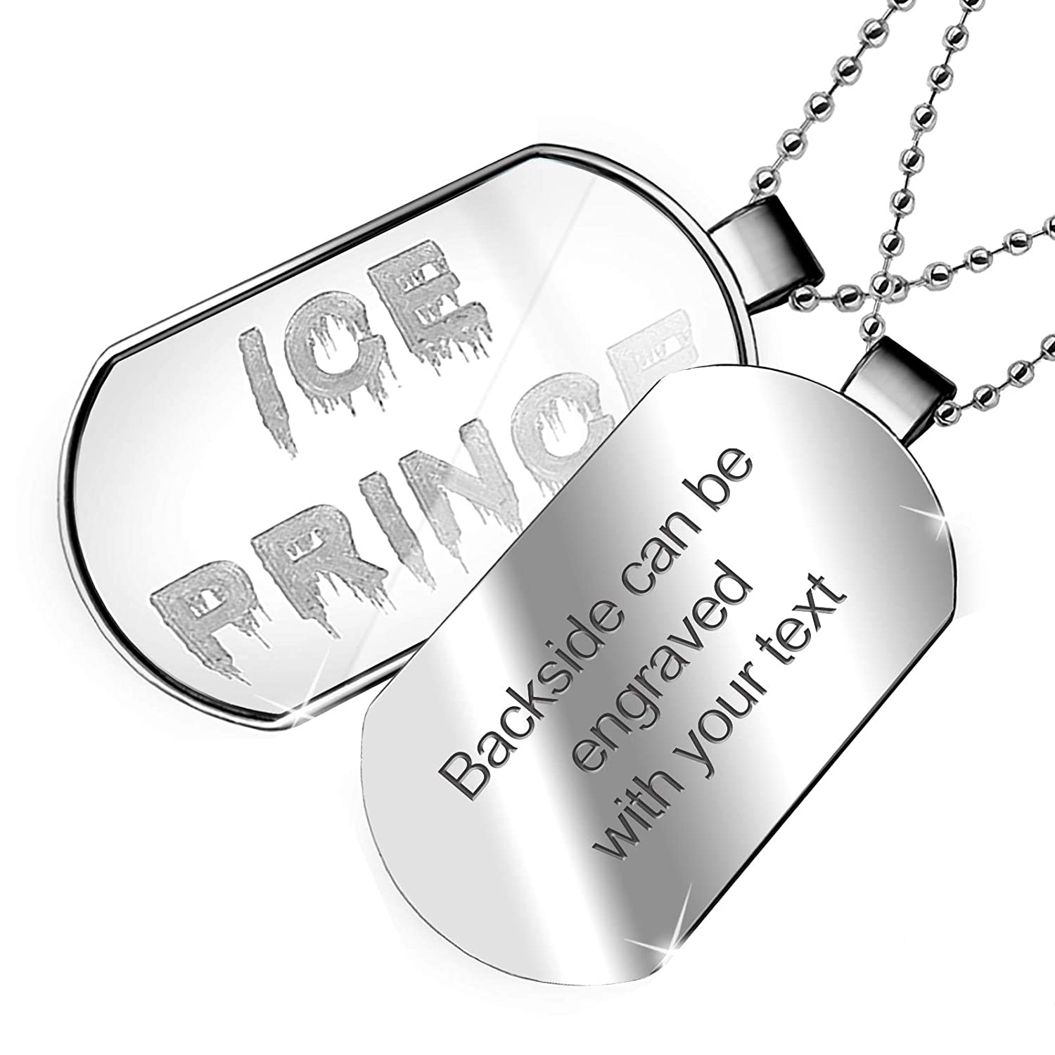 NEONBLOND Personalized Name Engraved Ice Prince Icicles Cold Winter Ice Dogtag Necklace