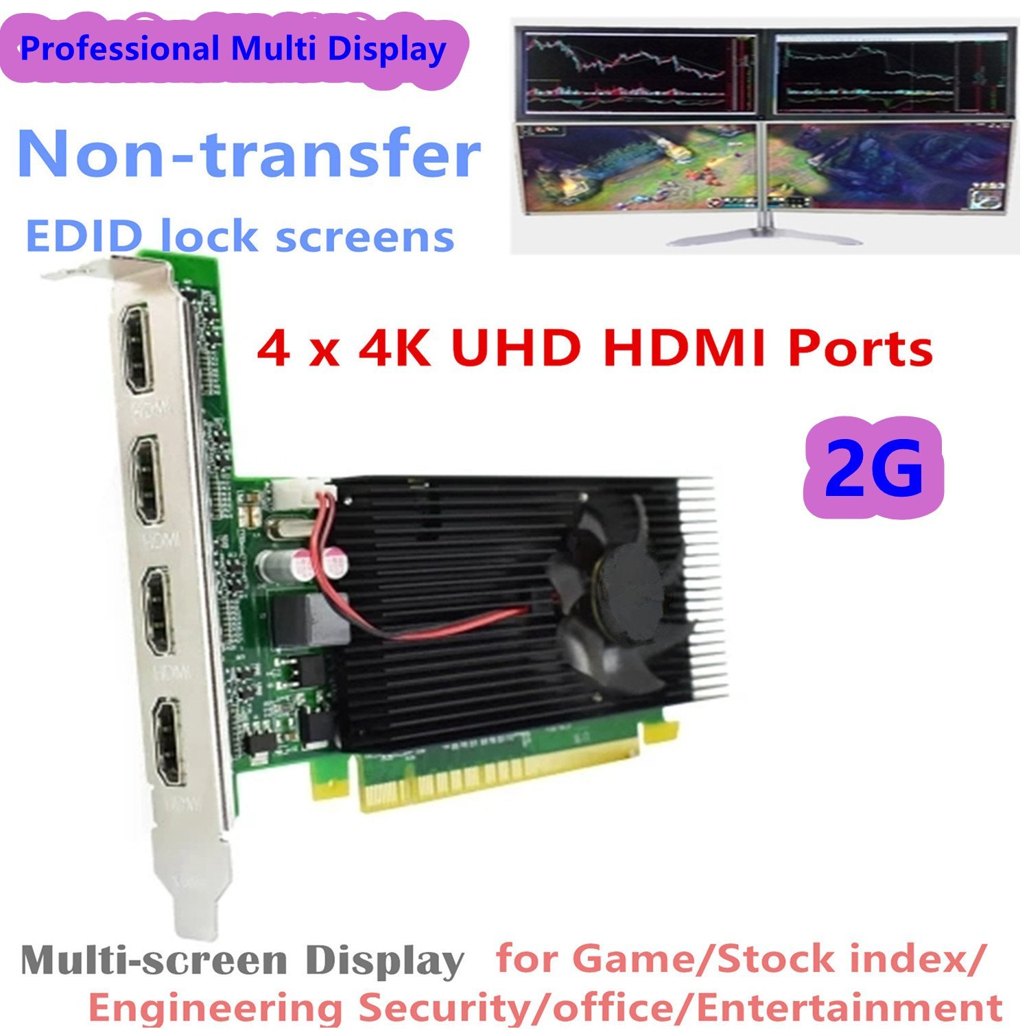AZrm Original 4HDMI 4K Tarjeta de Video Multi Pantalla para ...