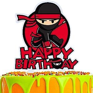 Ninja Cartoon Cake Topper Happy Birthday Video Game Theme Decor for Baby Shower Birthday Acrylic Party Decorations Supplies