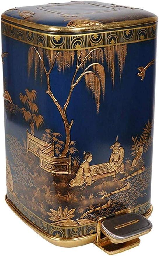 liyan Papelera doméstica jardín Villa pie Papelera Cubo de Almacenamiento de Moda diseño de artesanías de Pan de Oro Pintado a Mano: Amazon.es: Hogar