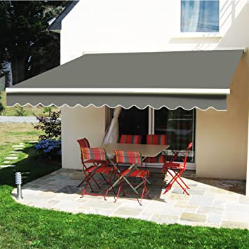 Greenbay Manual Awning Canopy Grey 4x3m Retractable Outdoor Patio