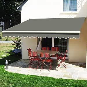 Greenbay Manual para toldo retráctil toldo | gris 4 x 3 m al aire libre Patio Jardín Sol sombra refugio completo con accesorios y manivela