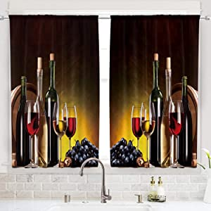 Cinbloo Wine Kitchen Curtains Small Rod Pocket 55(W) x 39(L) Inch Cafe Curtains Women Rustic Kitchen Decor Country Farmhouse Vineyard Fruit Romantic Art Short Design Print Window Drapes 2 Panel Set
