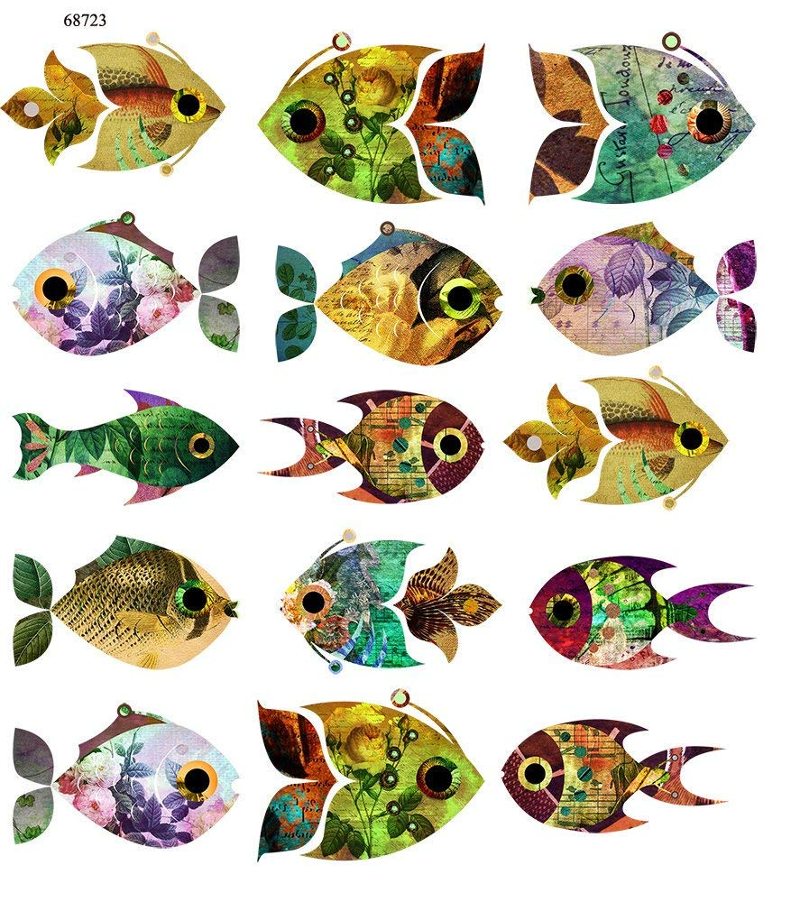 Too Cute Vintage Fish - 68723 - Ceramic Decal - Enamel Decal - Glass Decal - Waterslide Decal - 3 Different Size Sheet (Images) to Choose from. Choose Either Ceramic (Enamel) or Glass Fusing Decals XpressionDecals