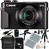"""Canon PowerShot G7 X Mark II Digital Camera 11PC Accessory Bundle. Includes 16GB Memory Card + 2 Replacement NB-13 Batteries + AC/DC Rapid Home & Travel Charger + Pistol Grip/Table Top Tripod + Full Size 57"""" Tripod + Micro HDMI Cable + MORE - International Version (No Warranty)"""