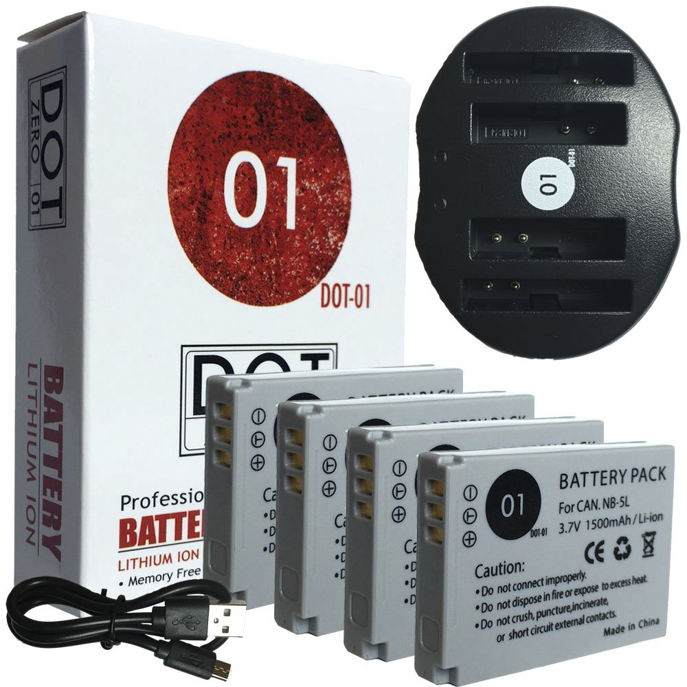 DOT-01 4X Brand 1500 mAh Replacement Canon NB-5L Batteries and Dual Slot USB Charger for Canon SD990 is Digital Camera and Canon NB5L