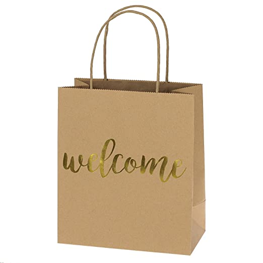 """Ling's moment Kraft Paper Bags Gift bags Gold Foil """"Welcome"""" Set of 24 with Handle for Hotel Guests Wedding Favors Bridesmaid Christmas Graduation Birthday Party Bridal Baby Shower"""