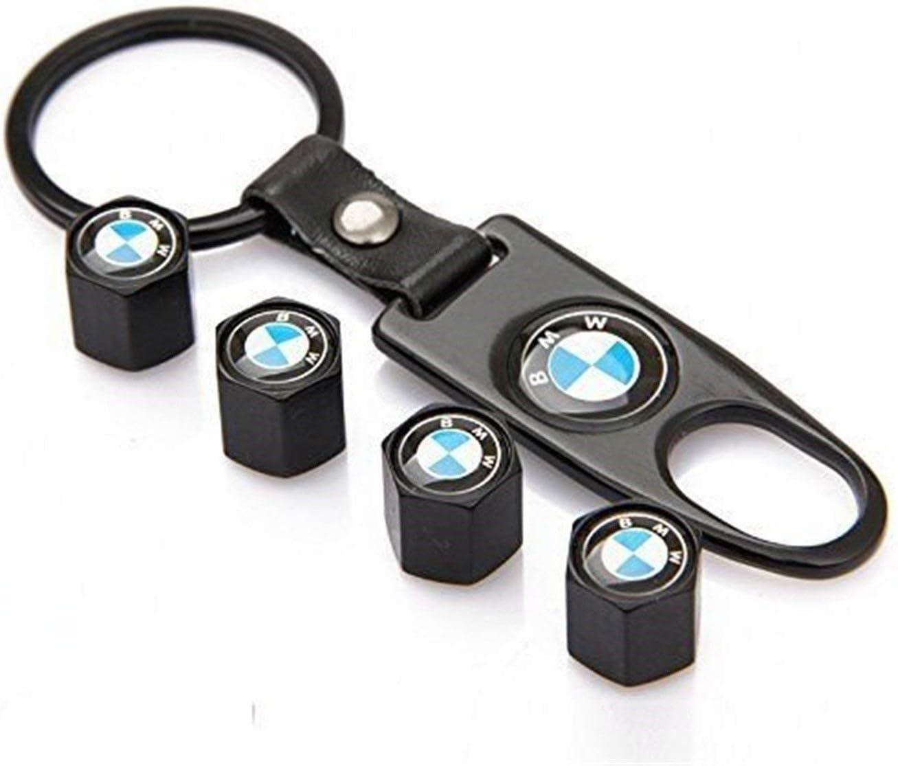 JGDGUUT 4 Unidades//Lote Negro Coche Rueda V/álvula Tapones de neum/áticos Tallo de Aire Tapas Llavero para BMW