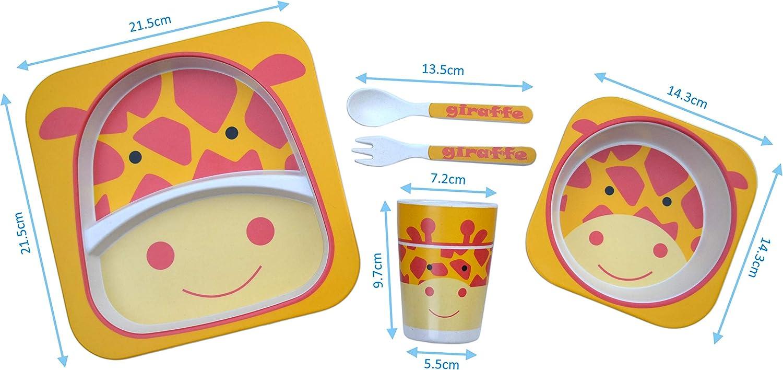 Juego de Platos Infantil con Baberos de Silicona Juego de Vajilla de 5 piezas Apto para Lavavajillas. Fibra de Bamb/ú Ecol/ógica plato, plato hondo, taza, tenedor, cuchara