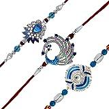 Mahi Combo Of 3 Rhodium Plated Blue Love Rakhis Bracelet For Men/Boys - Co1104639R