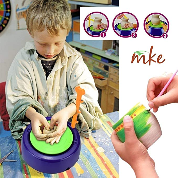 mke Educational Creative DIY Pottery Studio Artist Studio Easy Spin Pottery Wheel Machine for Children Kids for Fun