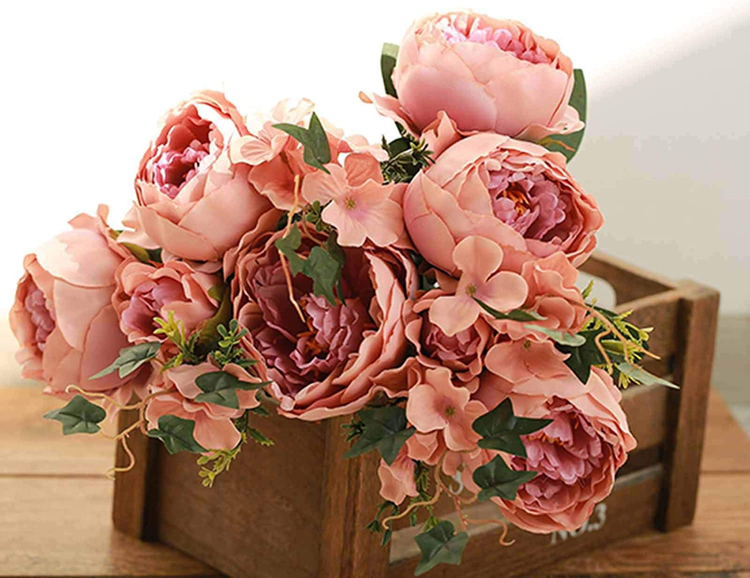 2 bushes Wedding Party Centerpieces 12 Blush and Dusty Rose SILK PEONY Flowers