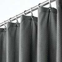 """mDesign Decorative Microfiber Embossed Fabric Shower Curtain, 72"""" x 72"""", Polyester, Charcoal Gray, Pack of 1"""