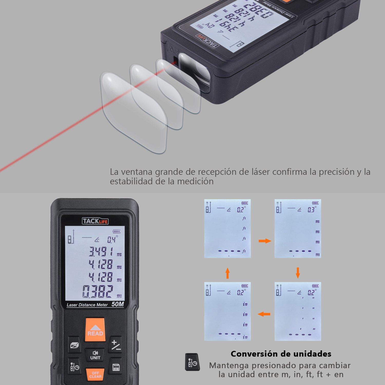 Telémetro Láser Profesional, TACKLIFE-S3-50m-Medidor Láser de Preción ±1,5mm,Multimodos, Gran Ventana de Recepción, Reflector de Láser, ...