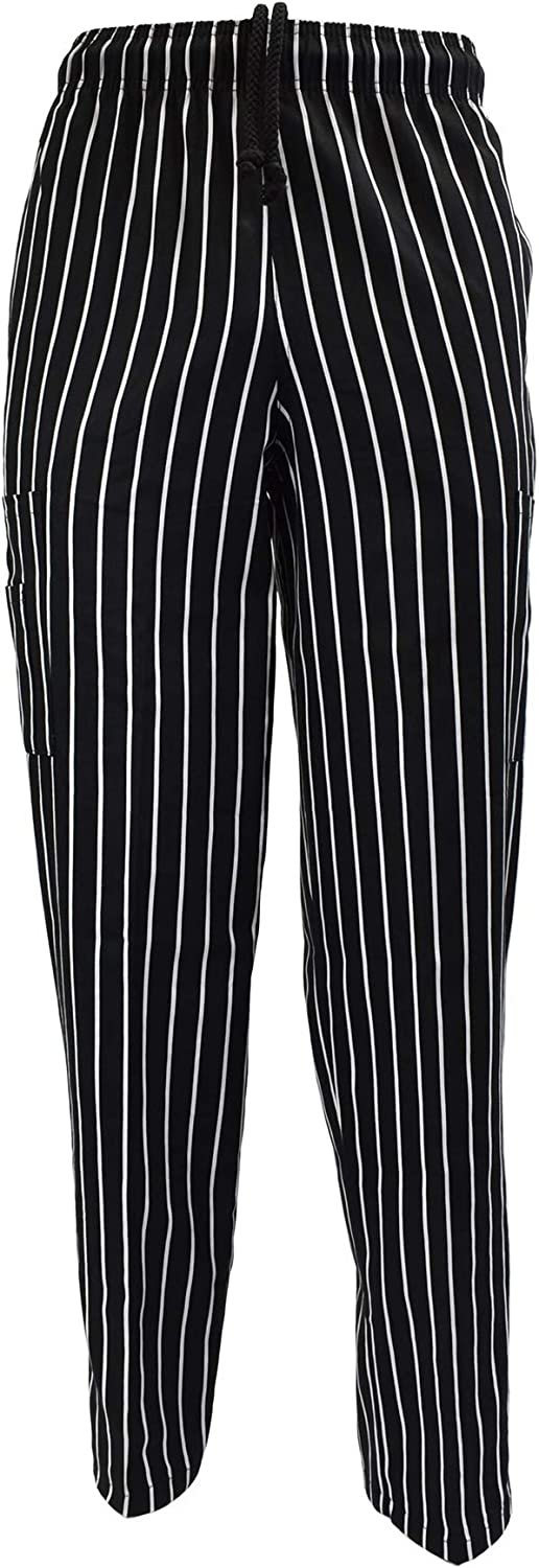 Natural Uniforms Classic Chalkstripe Chef Pants-100% Cotton with Multi-Pack QTYS Available