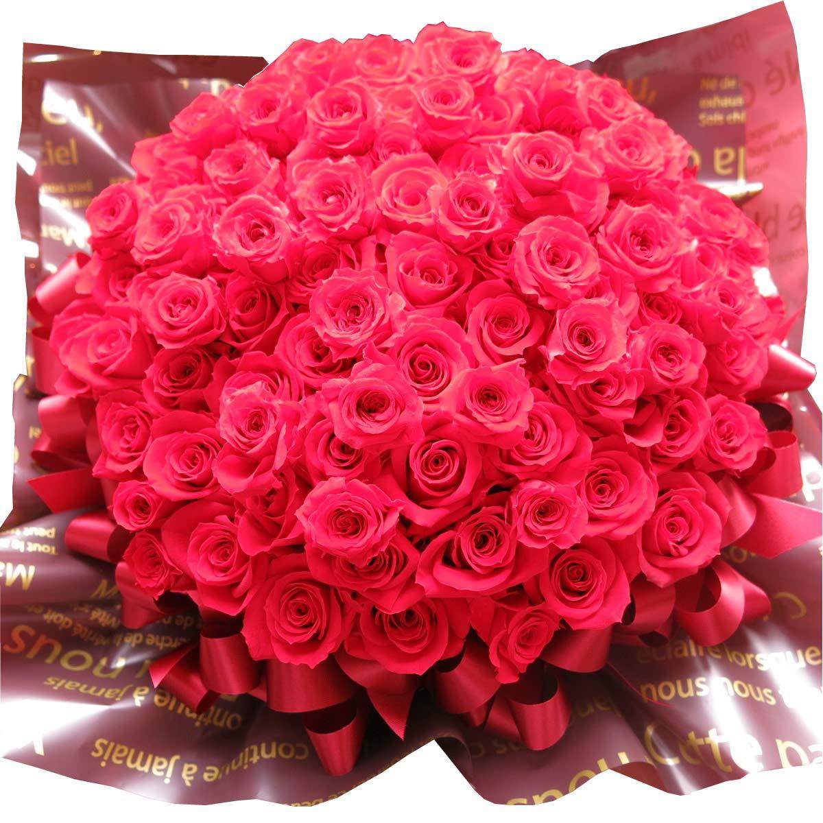 プロポーズ 花束風 赤バラ 108本 プレゼント プリザーブドフラワー 108輪使用 ケース付き B07HMTNBSY
