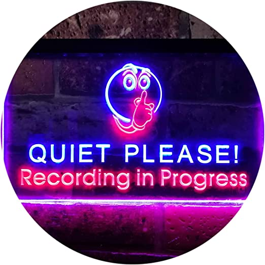 On The Air LED Neon Bar Sign Music Studio Recording Red Quiet light microphone