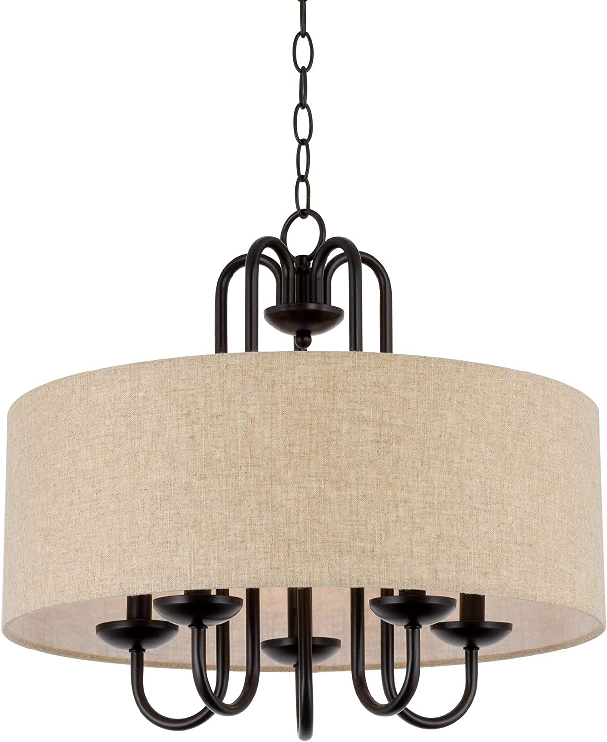"Kira Home Gwenyth 20"" 5-Light Modern Drum Chandelier + Oatmeal Fabric Shade, Oil Rubbed Bronze Finish"
