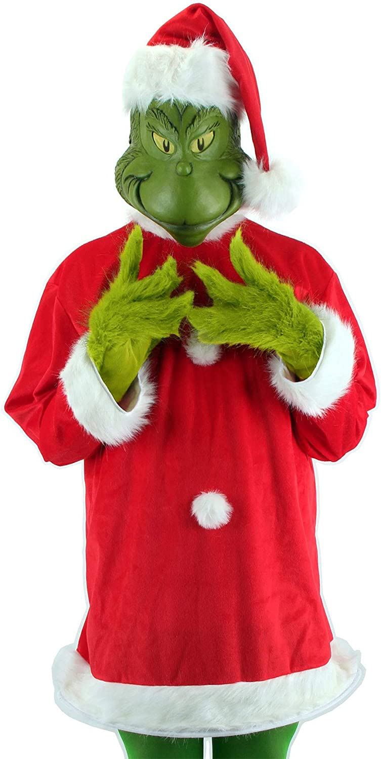 Santa Grinch Cosplay Costume Mask How the Grinch Stole Christmas Suit Adult