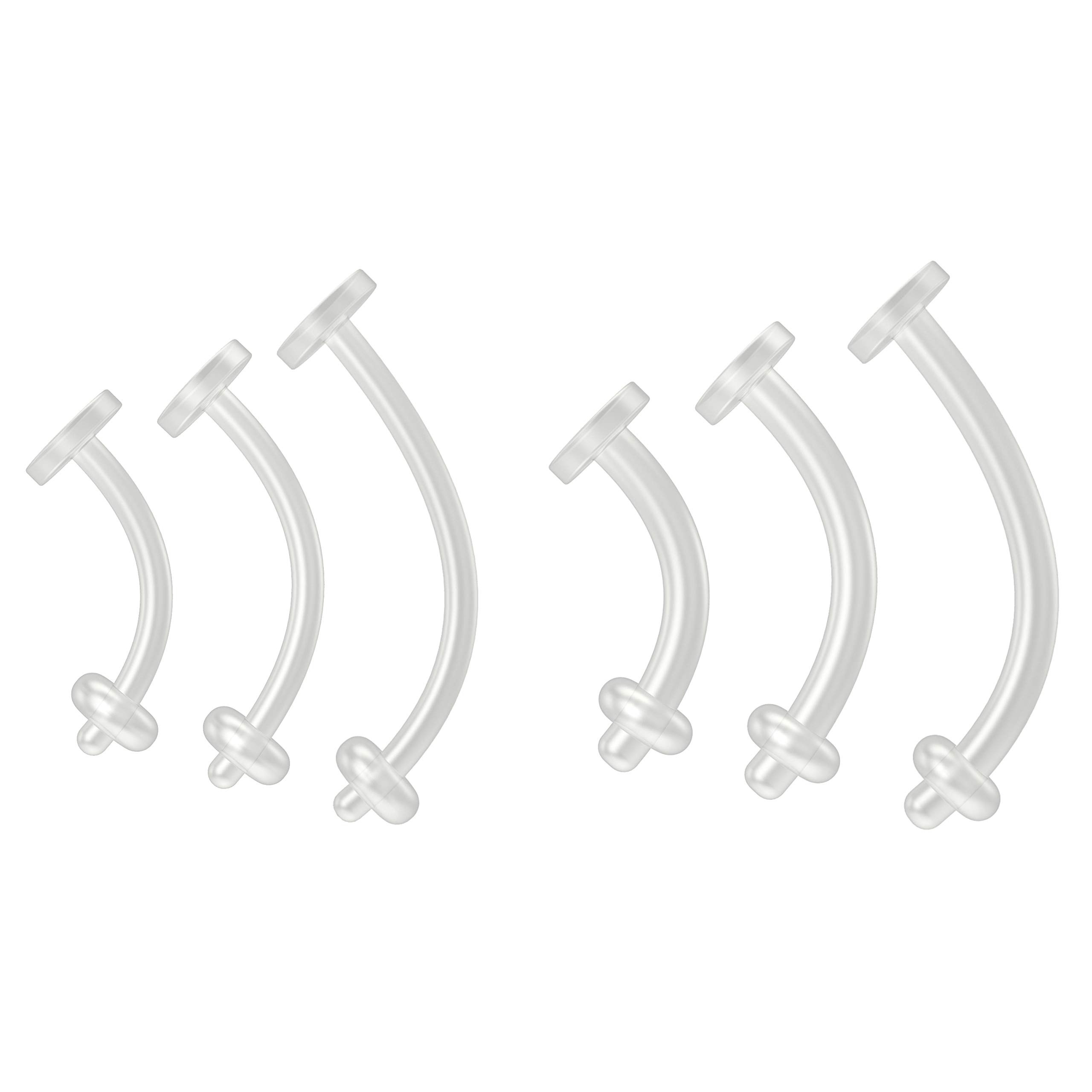 6pc 14g & 16g Flexible Belly Button Retainer Ring Clear Flexible Bioflex Bar Set - 8mm 10mm 12mm by Bling Piercing
