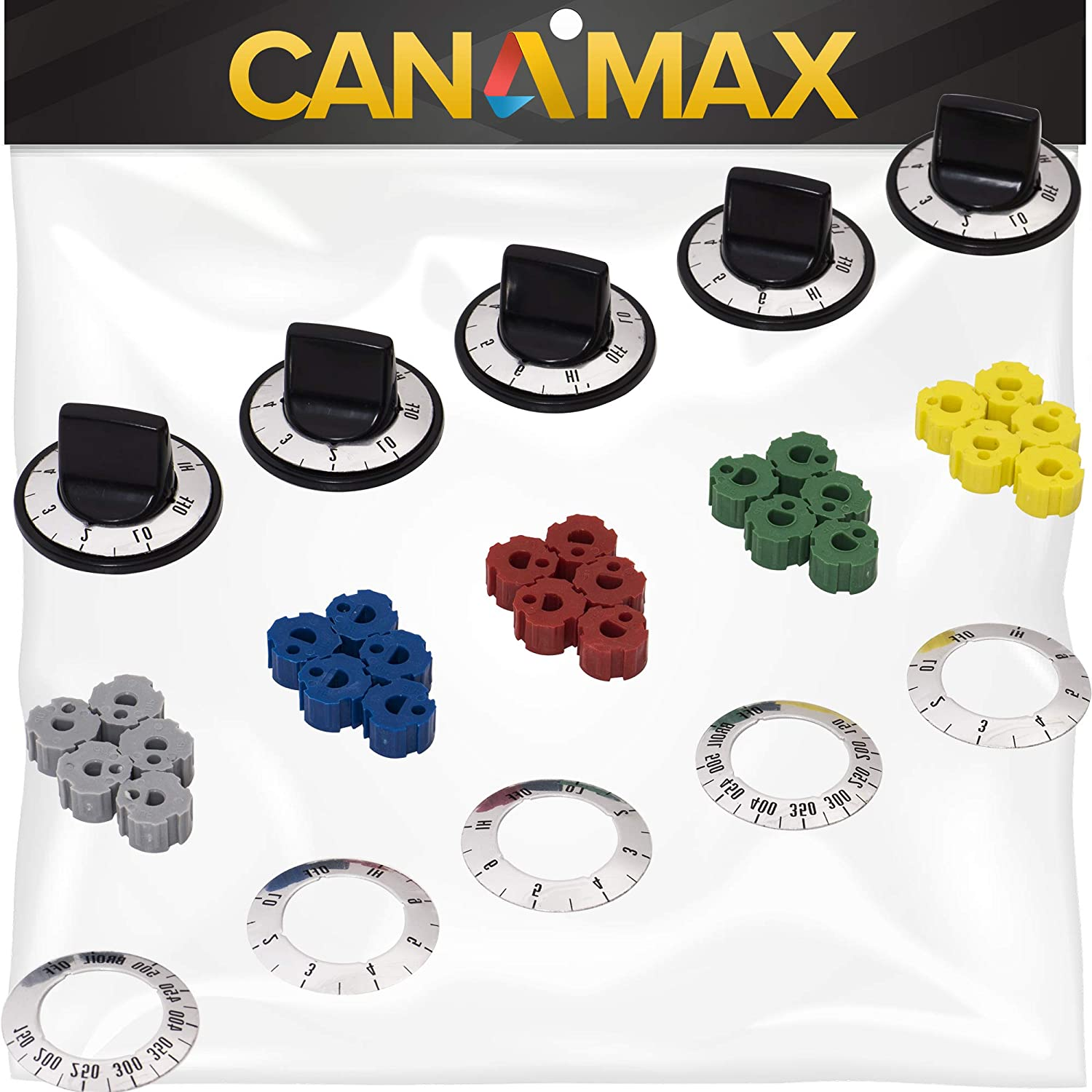 KN002 RKE Universal Electric Range Knob Kit Premium Replacement by Canamax - Compatible with Most Oven and Range Brands - Replaces RK103, MA-XP6, AP5641247