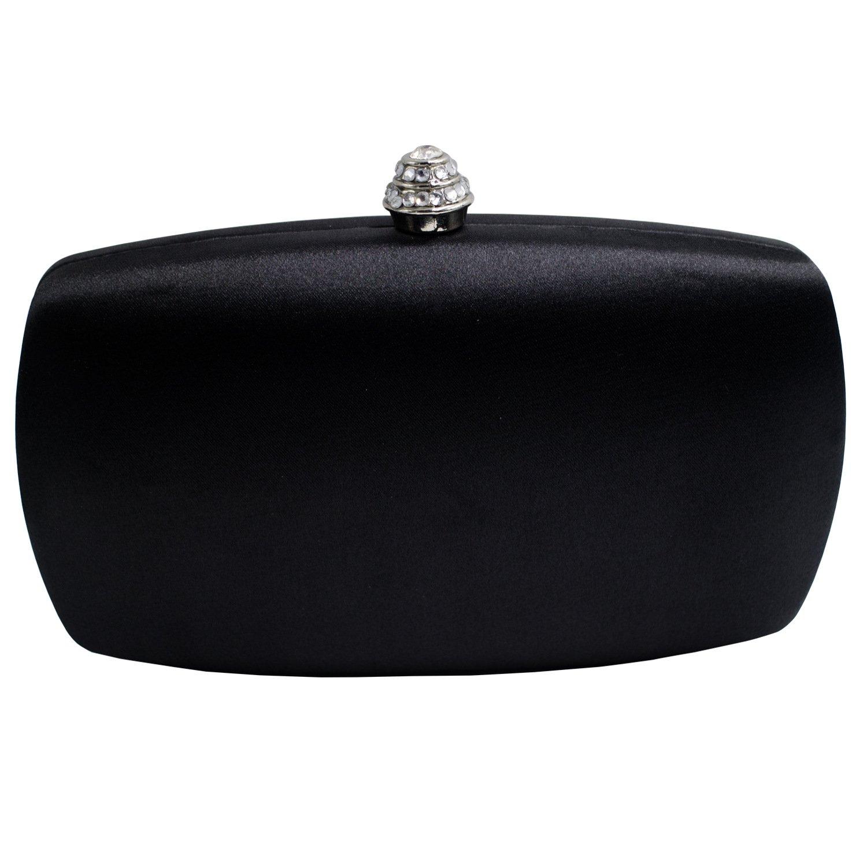 DMIX Womens Satin Silk Hard Case Box Clutch Evening Bags