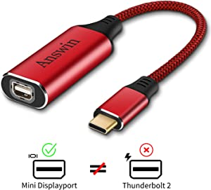 USB C to Mini Displayport (4K@60Hz), Answin USB-C/Thunderbolt 3 to Mini Displayport Adapter for New iPad Pro 2018, MacBook Pro 2016-2019, Galaxy S10 and More USB Type-C Devices