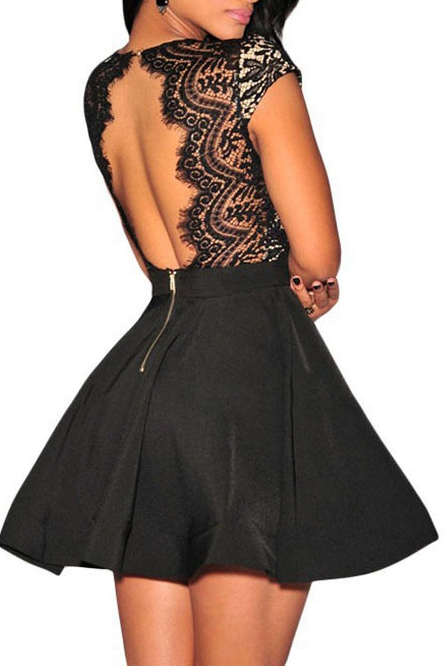 Zeagoo Women's V Neck Lace Open Back Nude Illusion Skater Cocktail Party Dress Black Small by Zeagoo (Image #1)