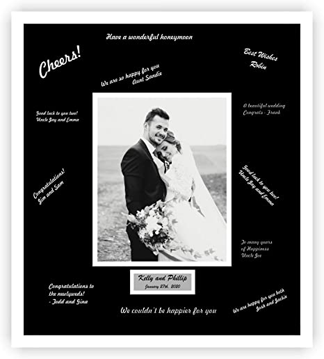Amazon Com Perfect Cases And Frames Personalized Wedding Signature Frame With White Moulding For 8x10 Photo