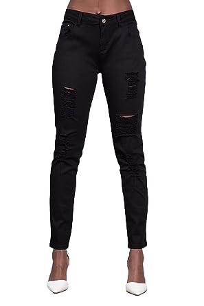 bc288497bc7 Womens Skinny Fit Ripped Jeans Ladies Stretch Slim Denim Plus Size UK 14-22  (
