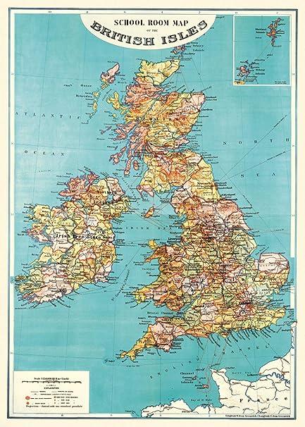 Amazon Com Cavallini Co British Isles Map Decorative Decoupage