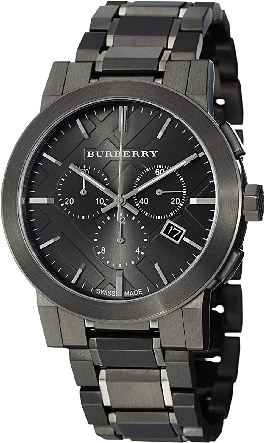 Burberry Men s BU9354 Large Check Gray Ion Plated Stainless Steel Watch