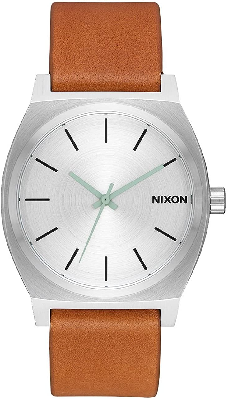 Nixon Time Teller Tan Stainless Steel Unisex Watch 37mm. Stainless Steel Face Tan Leather Band