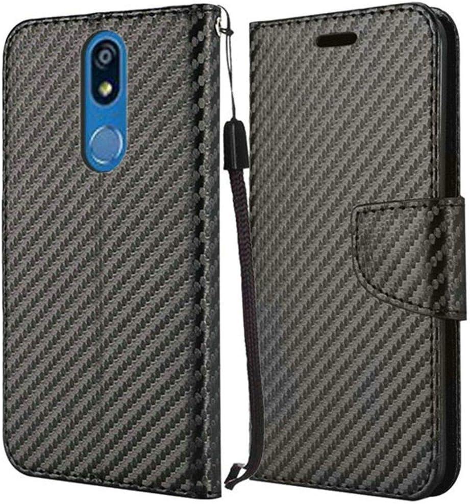 Wallet Case for LG K40 / LG K12 Plus/LG X4 / LG Solo 4G LTE [Wrist Strap Lanyard] Shock Impact Protection PU Leather [ID Card Slot] Folio Flip Kickstand Magnetic Clasp Case (Carbon Fiber Black)