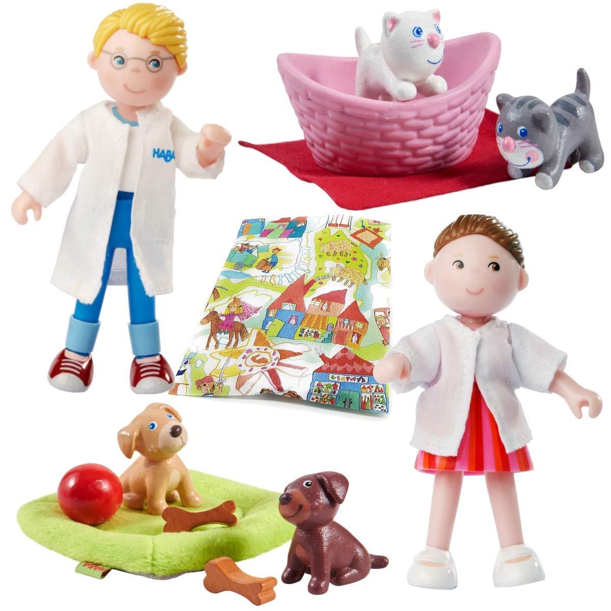 Haba Little Friends Tierarzt, Tierarzthelferin mit Hundebabys und Katzenbabys Spielfiguren Zubehör Tierklinik