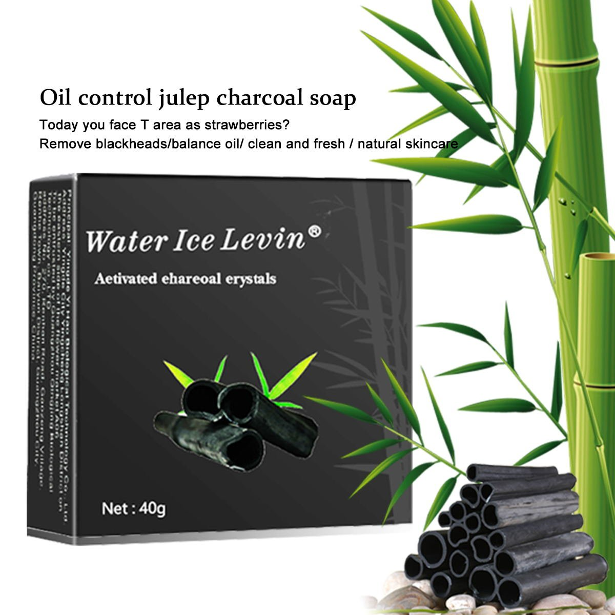 HJR Activated Bamboo Charcoal Natural Handmade Soap, Face & Body Cleanser ,Oil Control And Blackhead Clean, Benefits All Types Of Skin 40g