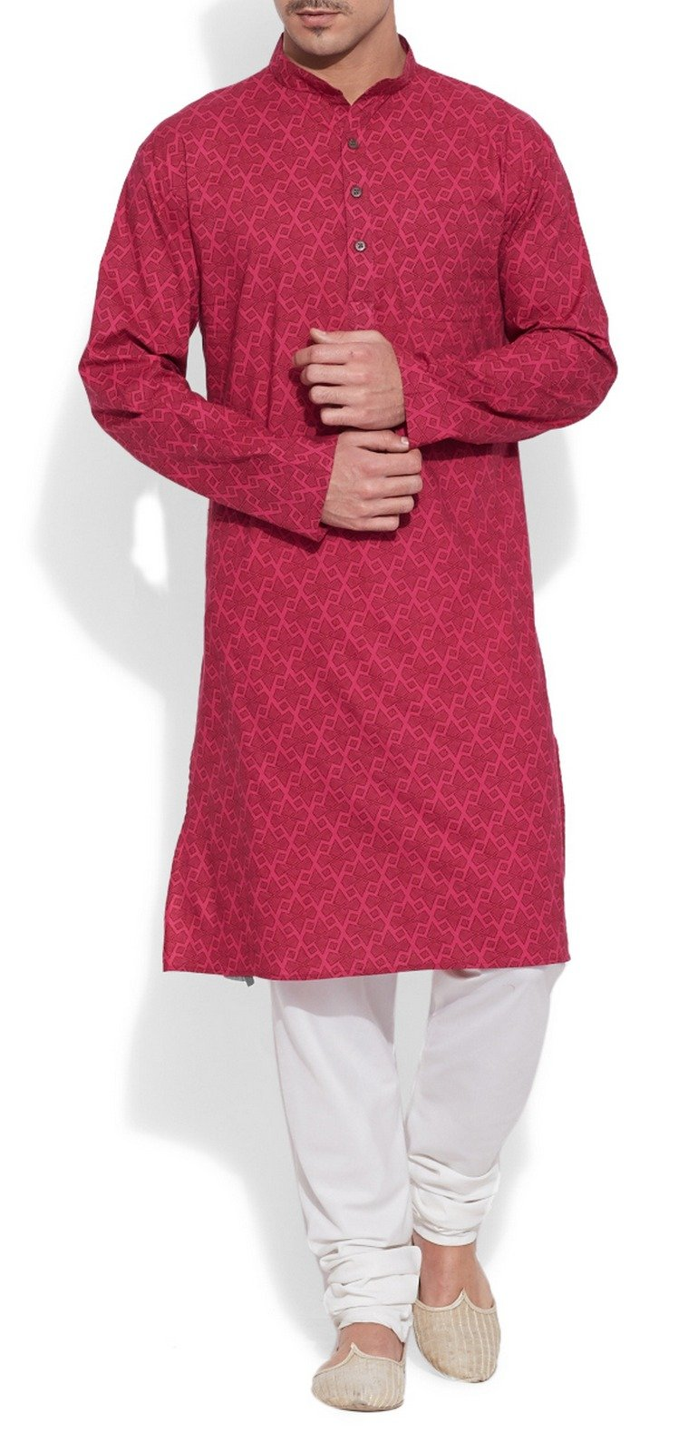 ShalinIndia Cotton Long Nehru Collar Indian Mens Kurta Shirt 3 pockets Magenta 46 by ShalinIndia (Image #3)