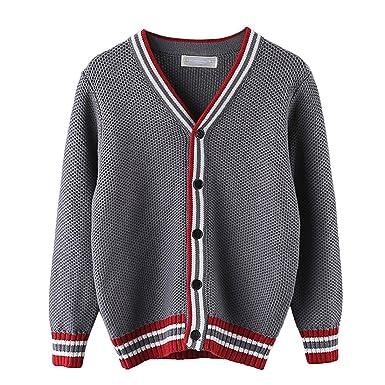 b0469945ce8b4 キッズ Vネック ケーブル編み コットン カーディガン セーター 男の子 子供服 (グレー