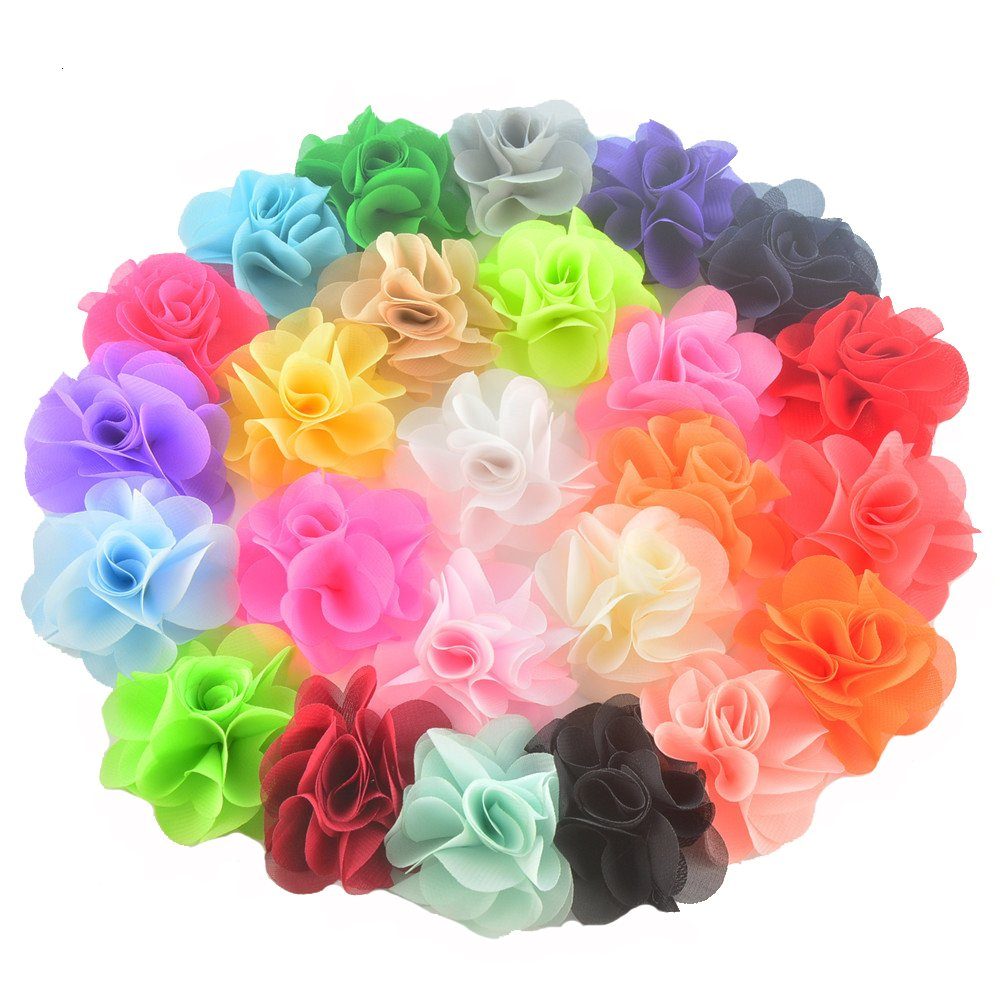 BERON 25 Pieces 2.75'' Different Colors Handmade Chiffon Flowers for DIY  Flower Headband Flower Accessories (AIH0141)