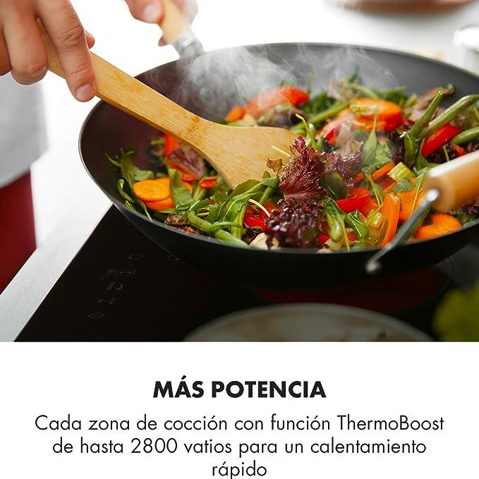 Klarstein Delicatessa 60 Hybrid Placa de cocina - Placa de inducción, Para empotrar, 4 zonas, 7000 W, Panel táctil, Flexzone, Sensor de sartenes, ...